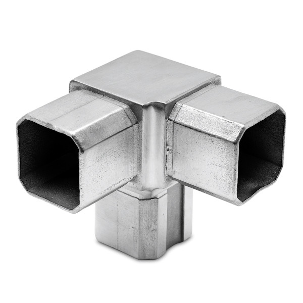 Square tube connector 90° with 1 outlet 90°