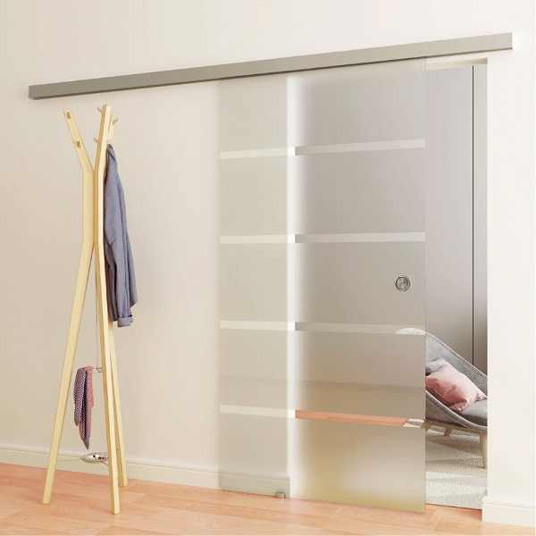 Sliding door including Soft-Close, recessed grip and floor guide, 46.0302.250.46
